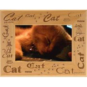 Giftworks Plus PET0073 Cat - Repeating, Alder Wood Frame, 3.5 x 5 In