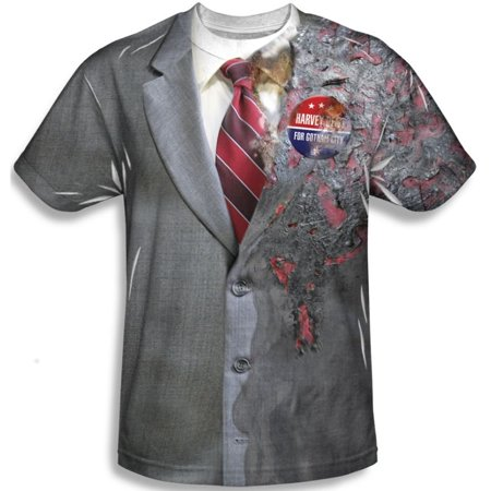 Harvey Dent Adult T-Shirt Costume Two Face The Dark Knight Movie Mens - Harvey Dent Two Face Dark Knight