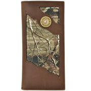 Badger Western Wallet Mens Leather Rodeo Shotgun Conchos Brown BW532