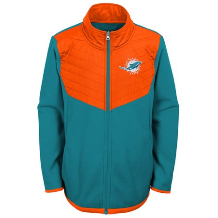 Youth Aqua/Orange Miami Dolphins Polar Full-Zip Jacket - Miami Dolphins Reversible Jacket