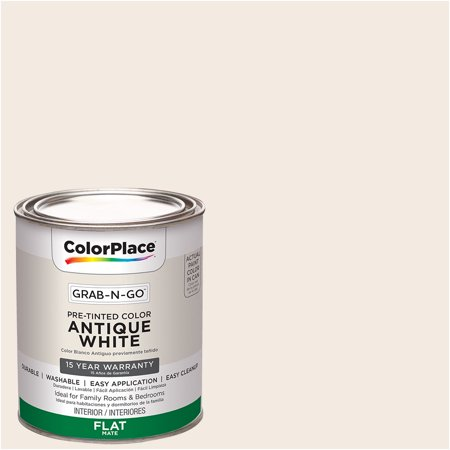 ColorPlace Pre Mixed Ready To Use, Interior Paint, Antique White, Flat Finish, - Antique Look Finish