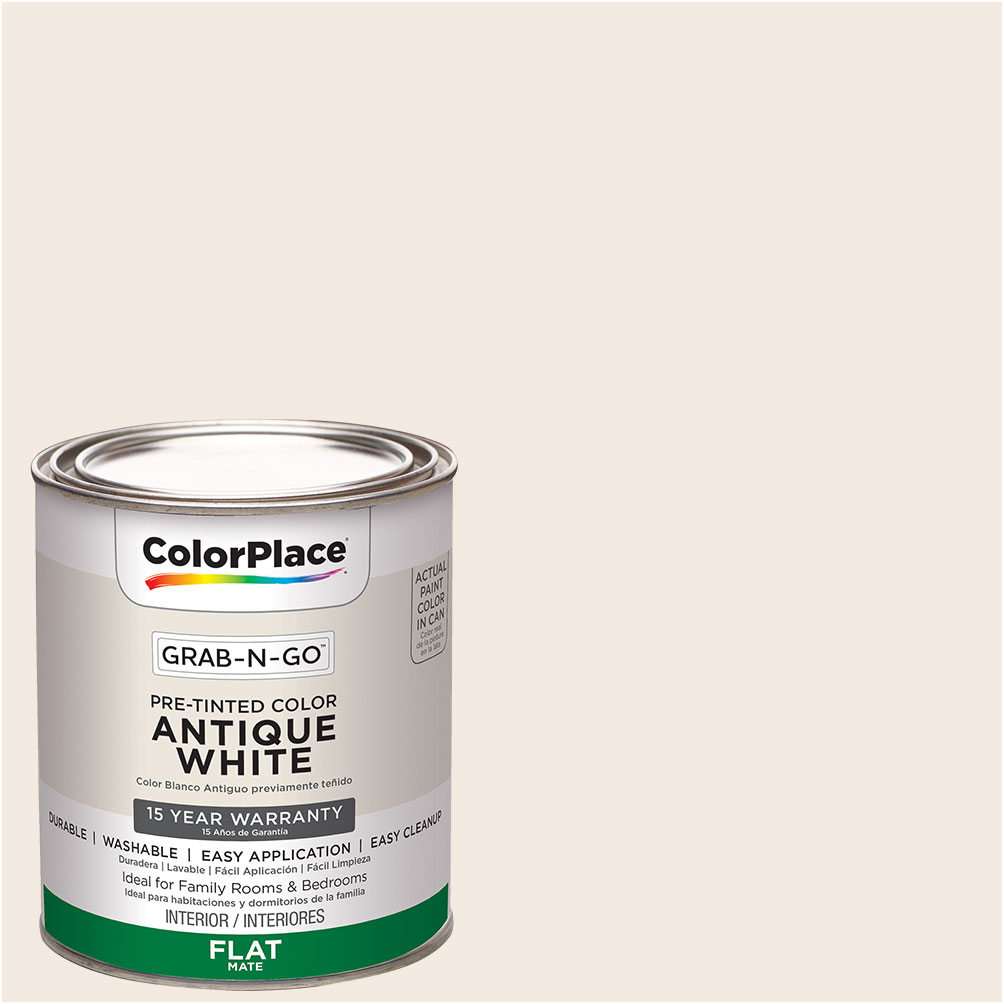 ColorPlace Pre Mixed Ready To Use, Interior Paint, Antique White, Flat Finish, Quart