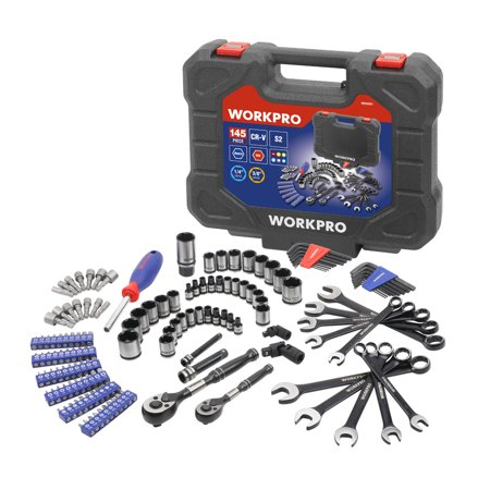 WorkPro 145-Piece Mechanic's Tool Set, Two-Tone Black and Polish