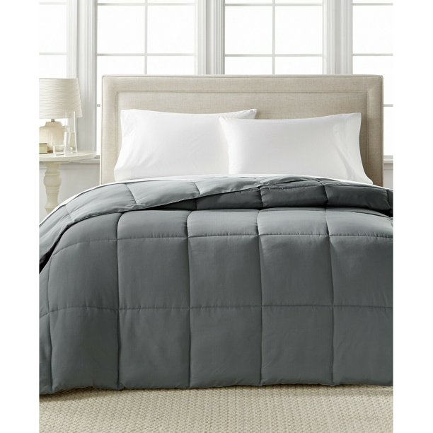 Home Design Down Alternative Reversible Comforter Twin Twin Xl Char Grey Walmart Com Walmart Com