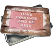 Christmas Cookie Tin Have Courage and be Kind Bunny Border for Gift Giving Empty Candy Snack Pastry Treat Swap Box Cerebrate a Holiday