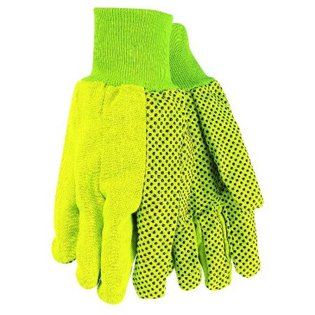 MCR Safety 9018DYM Cotton Dotted Double Palm High Visibility Men's Gloves with Knit Wrist, Yellow, Medium, 1-Pair