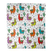 LADDKE Flannel Throw Blanket Pattern Colorful Alpacas Llamas Cactuses and Triangles in Cartoon Soft for Bed Sofa and Couch 58x80 Inches