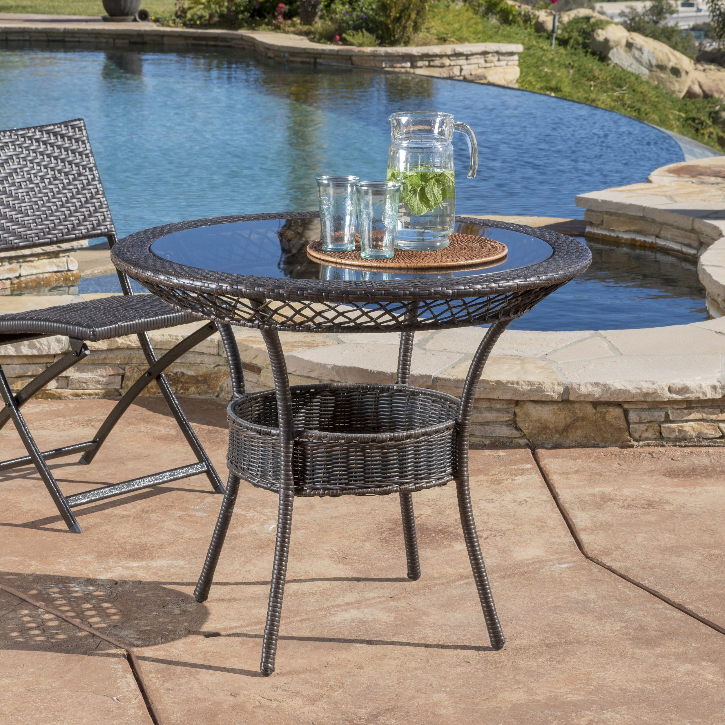 Christopher Knight Home Figi Outdoor 27-inch Wicker Glass Table by