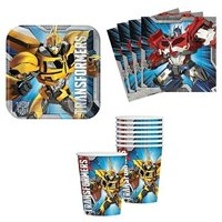 transformers birthday party supplies set plates napkins cups kit for 16 by designware (original version)