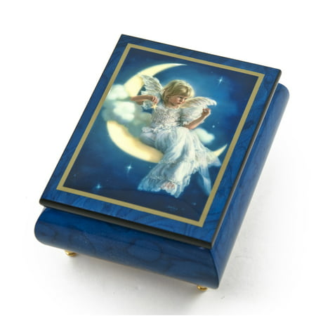 "Enchanting Blue Ercolano Painted Music Box Titled ""Moonbeam"" by Brenda Burke - Winnie the Pooh"