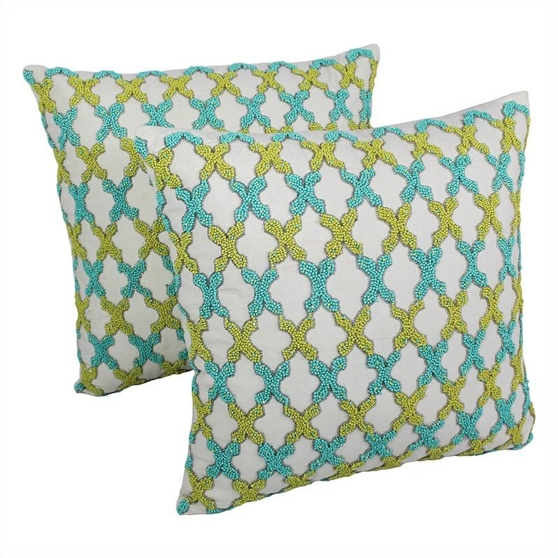 Blazing Needles 20 Inch Throw Pillows In Ivory With Sea Green And Teal Beads