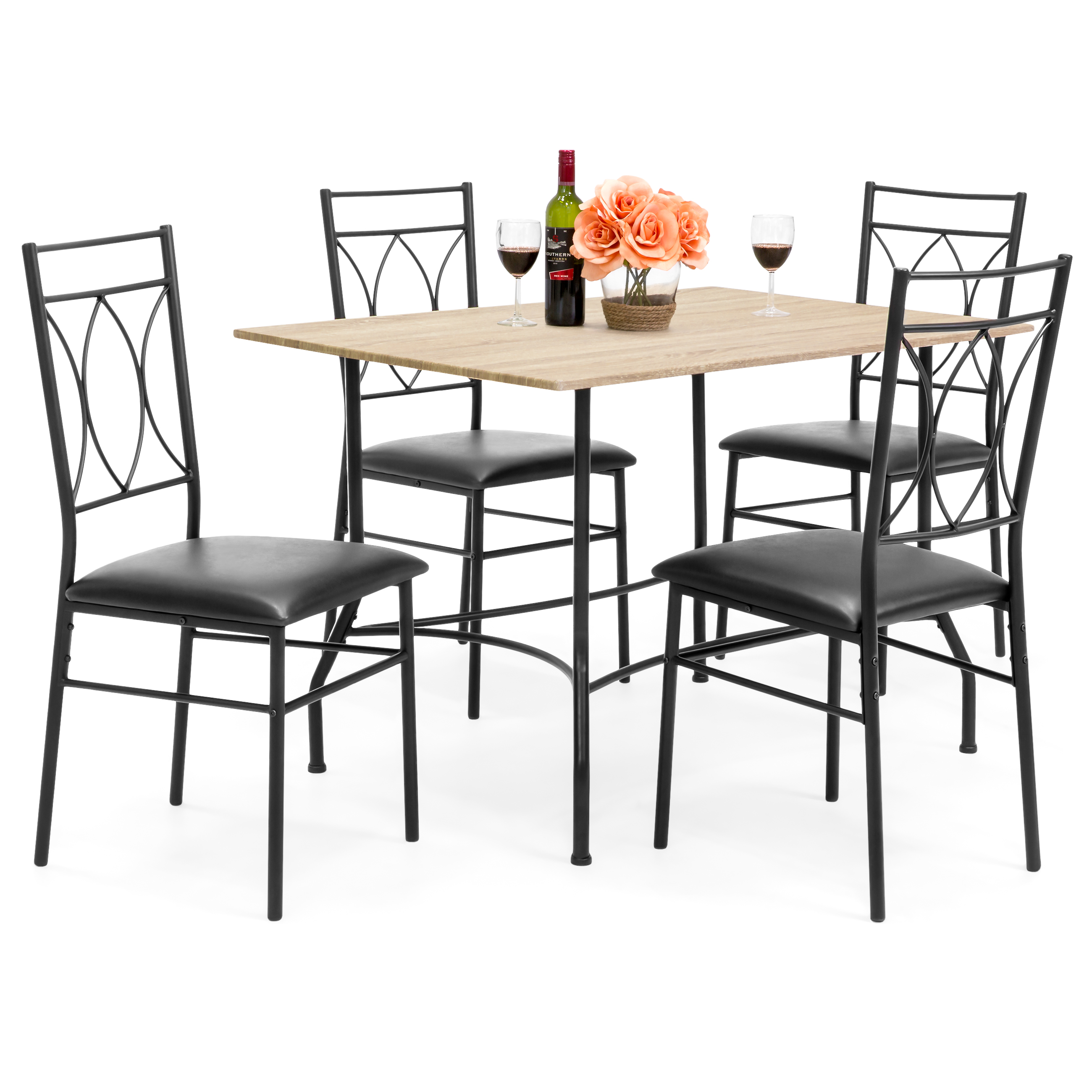 Best Choice Products 5-Piece Dining Room Set w  Wood Table, Metal Chairs, Faux Leather Seats Black by Best Choice Products