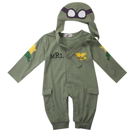 Baby Unisex Christmas Aviator Costume Pilot Cosplay Bodysuit 2PCS - Baby Cosplay Ideas