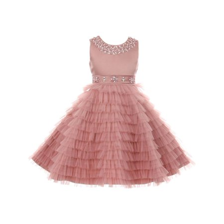 Little Girls Dusty Rose Sequined Multi Layer Ruffle Flower Girl Dress