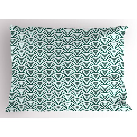 Teal Pillow Sham Traditional Japanese Chinese Seigaiha Pattern Abstract Scales Asian Inspirations, Decorative Standard King Size Printed Pillowcase, 36 X 20 Inches, Jade Green White, by - King Jaffe