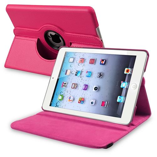 iPad Mini 3 / 2 / 1 Case, by Insten Hot Pink Flip Leather Multi Angle View Stand Case for Apple iPad Mini 3rd 2nd 1st