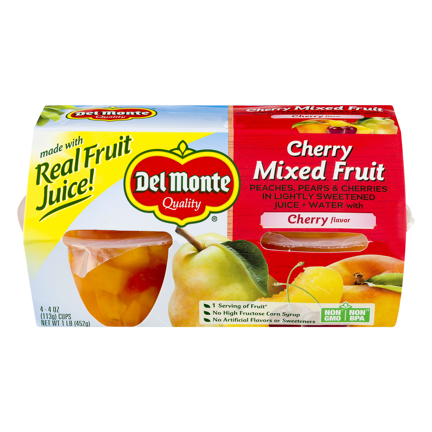 Del Monte Cherry Mixed Fruit in Lightly Sweetened Juice + Water, 4 oz Cup, 4 Count Box