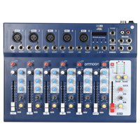 ammoon F7-USB 7-Channel Digital Mic Line Audio Sound Mixer Mixing Console with USB Input 48V Phantom Power 3 Bands Equalizer for Recording DJ Stage Karaoke Music Appreciation