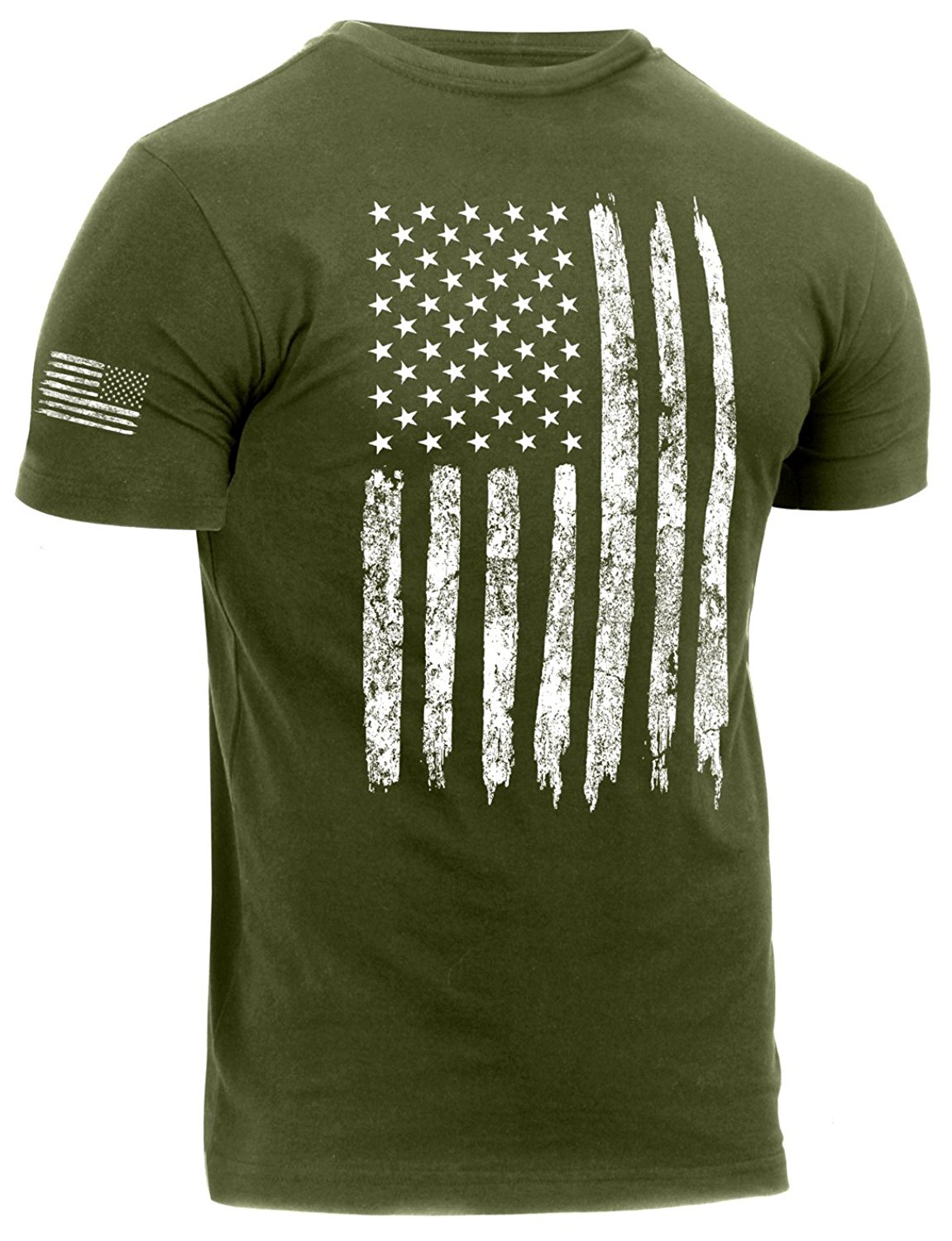 Rothco Distressed US Flag Athletic Fit T-Shirt - Olive Drab, X-Large