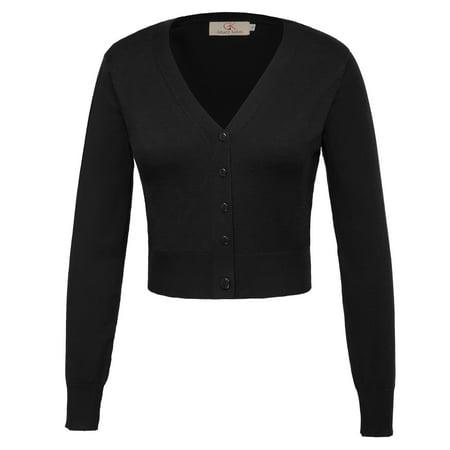 Women's Open Front Knit Cardigan Cropped Shrug Sweater Long Sleeve Bolero (S-4XL) Knit Bolero Shrug