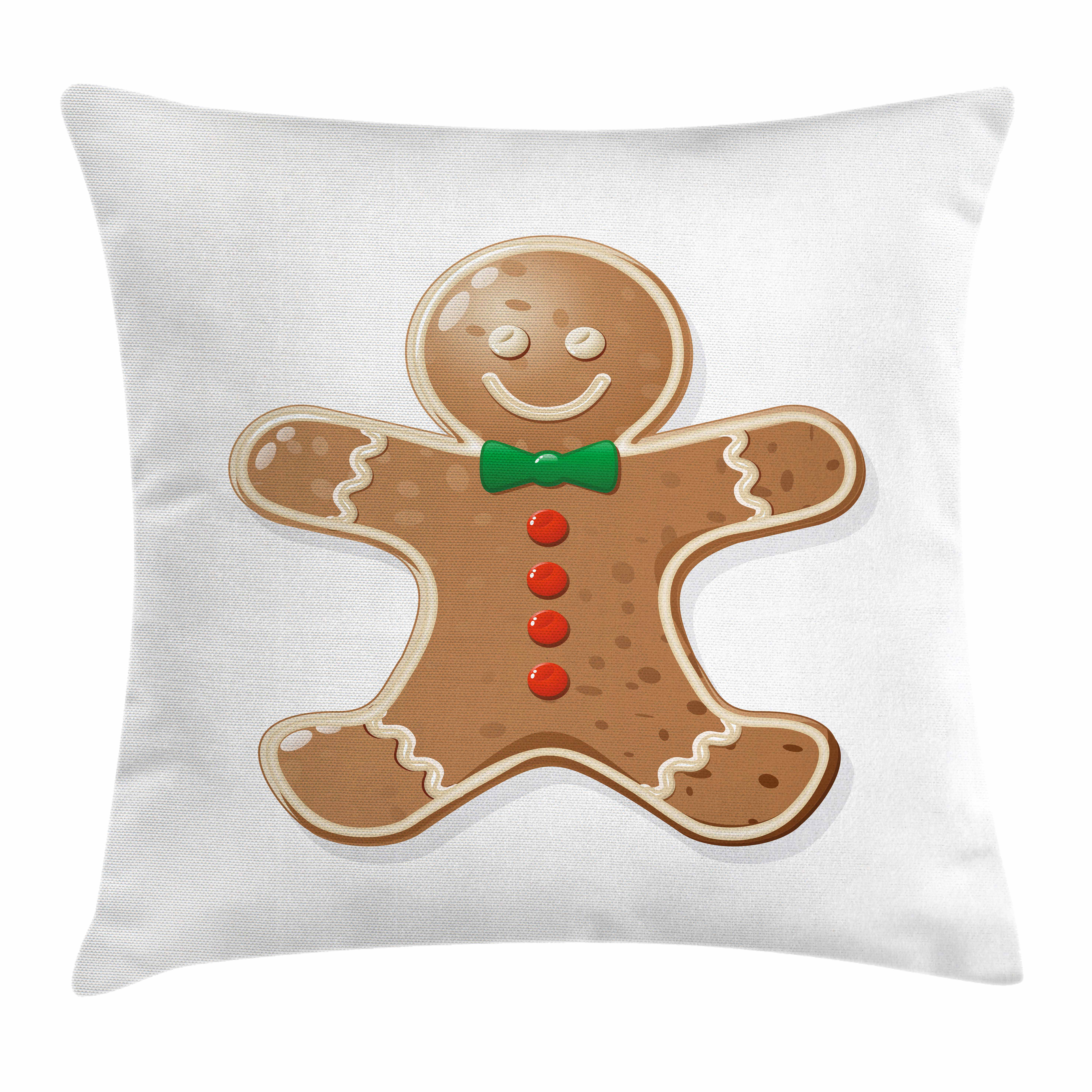 Gingerbread Man Throw Pillow Cushion Cover, Iconic Seasonal Baked Pastry Sugary Treats for Kids Joyous Fun Xmas, Decorative Square Accent Pillow Case, 16 X 16 Inches, Caramel Red Green, by Ambesonne