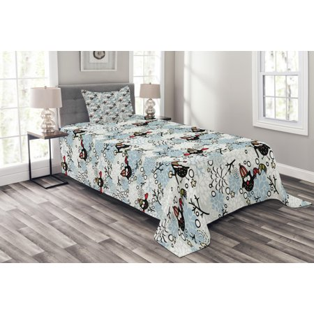 Owls Bedspread Set, Wintertime Pattern with Cute Characters and Snow Flowers Stars Doodle Style Xmas Theme, Decorative Quilted Coverlet Set with Pillow Shams Included, Multicolor, by Ambesonne ()