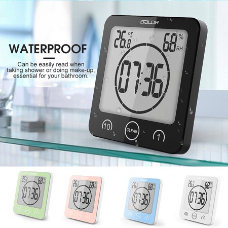 Waterproof Shower Clock Suction Wall Alarm Timer Temperature Humidity Home