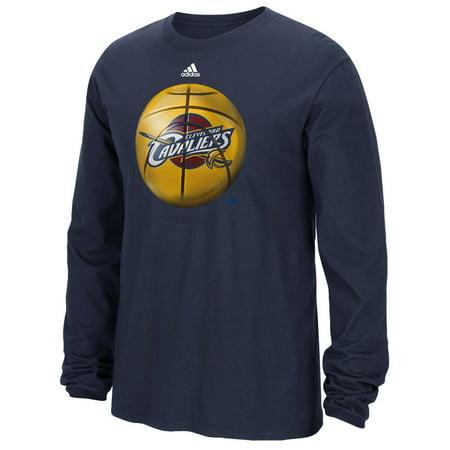 Cleveland Cavaliers Adidas Nba   Logo Ball   Premium Print L S Mens T Shirt