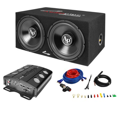 Audiopipe APSB-1299PP Loaded Dual 12 Subs Amp and Wire Kit Car Audio