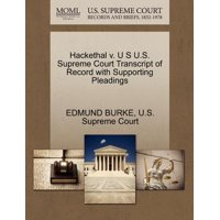 Hackethal V. U S U.S. Supreme Court Transcript of Record with Supporting Pleadings