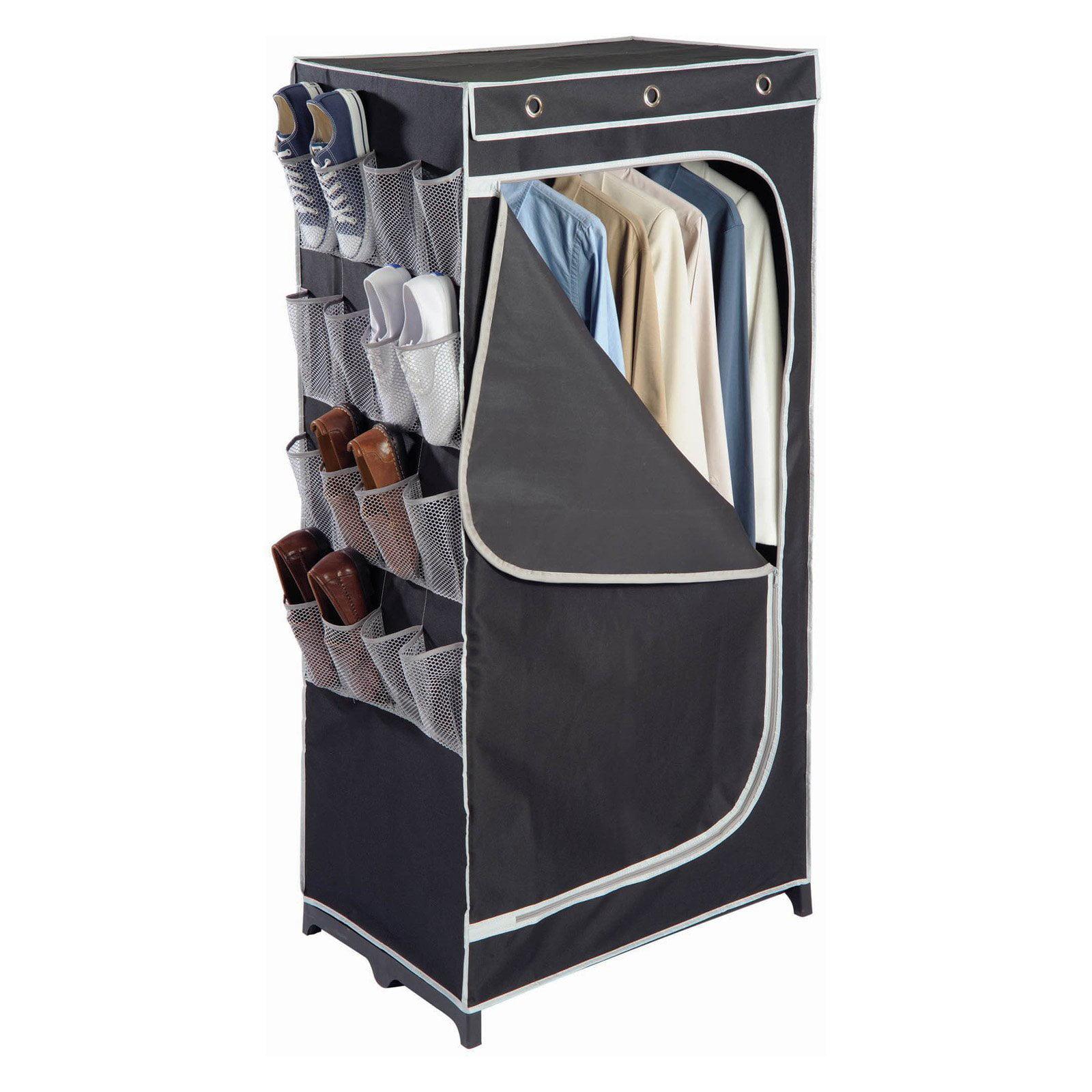 Richards Homewares 30 in. Wardrobe with Mesh Pockets - Black/Silver