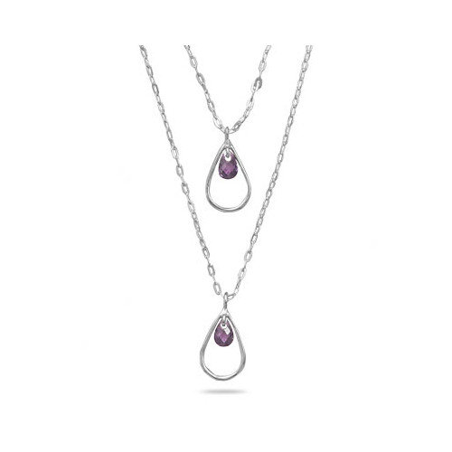 Jewelryweb Sterling Silver 16 Inch+2 Inch Extention Double Graduated Strand Necklace With Purple CZ