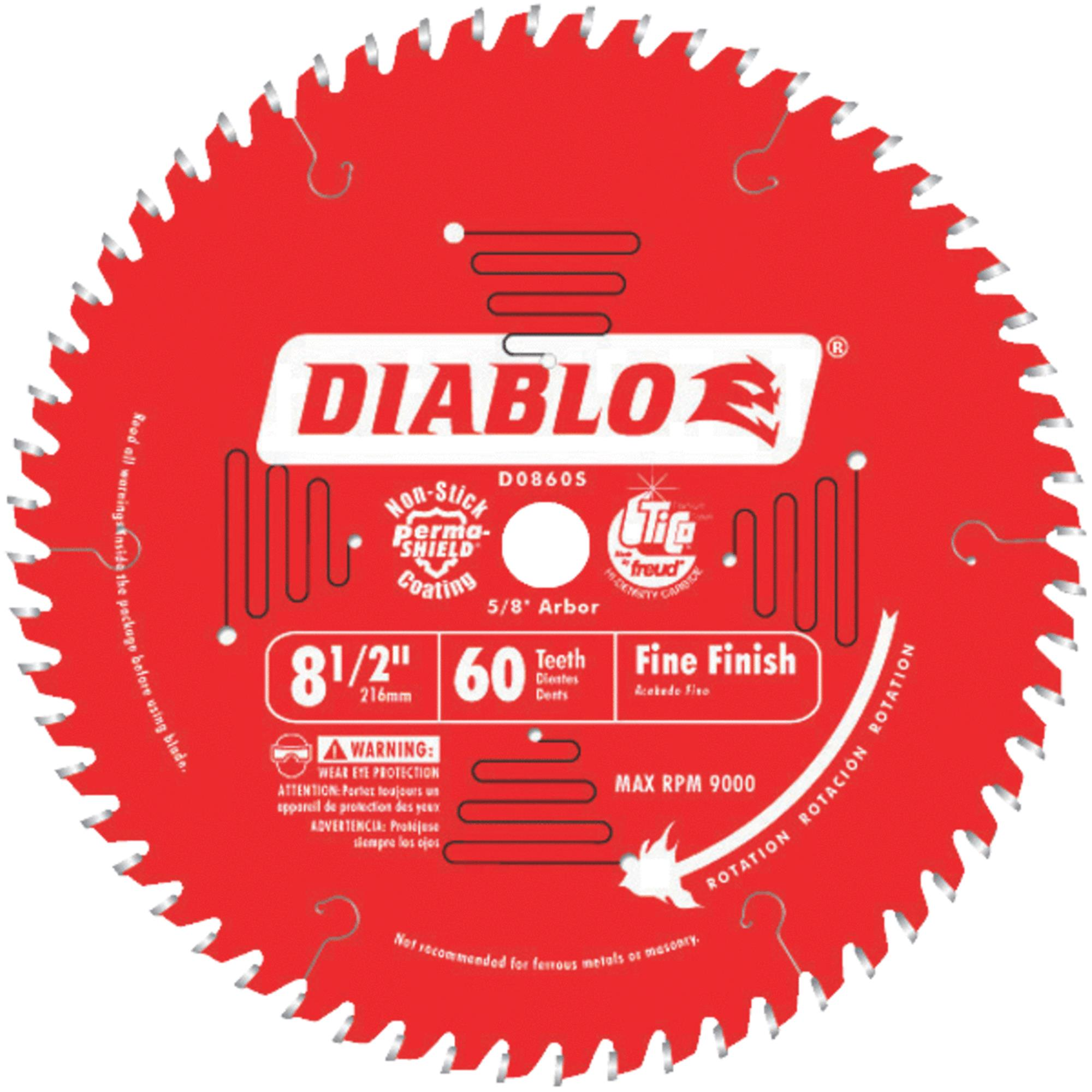 "Diablo D0860S 8-1/2"" 60T Diablo Fine Finish Work Miter/Slide Miter Saw Bl"