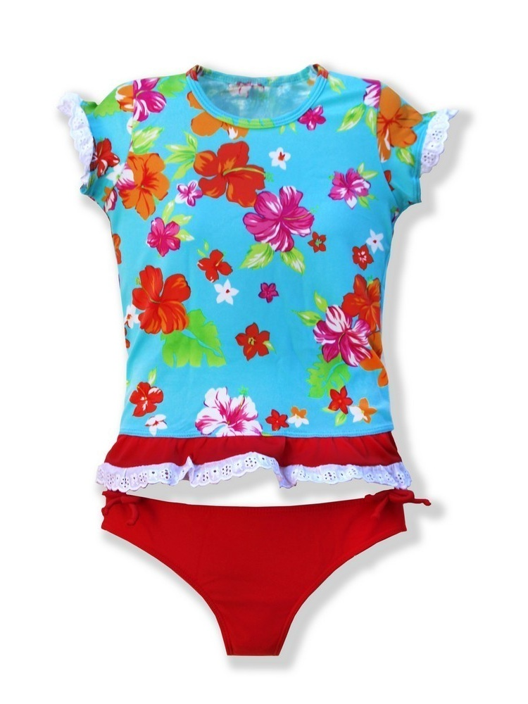 Azul Girls Red Turquoise Floral Totes Cute UPF 50+ Rash Guard