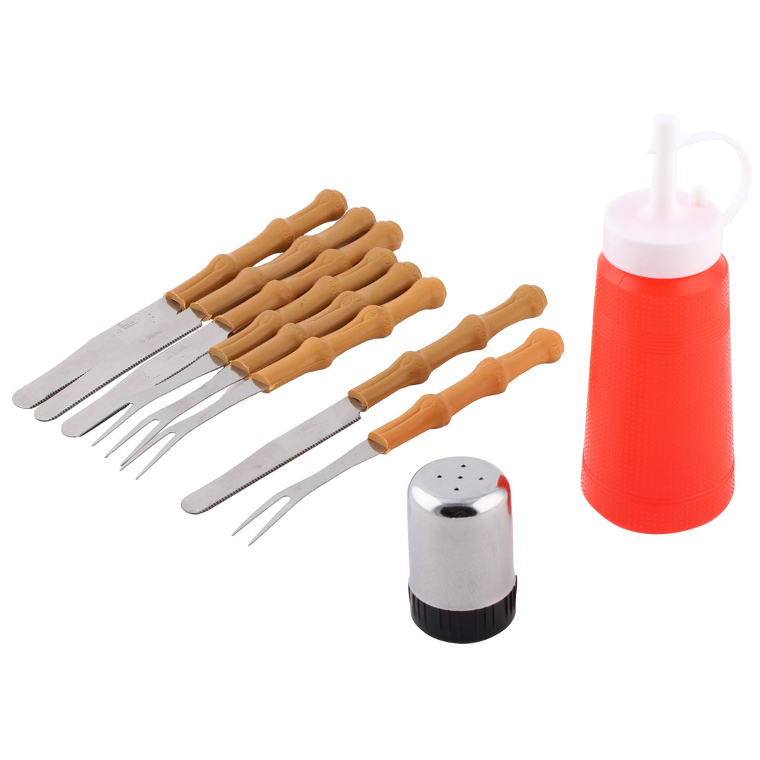 Plastic Handle Stainless Steel Barbecue Kit Cooking Tool BBQ Set 10 in 1