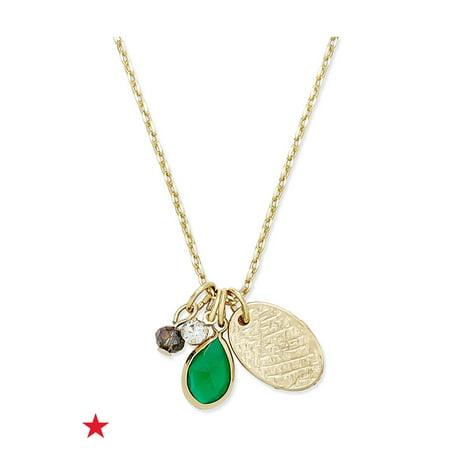 Gold-Tone Multi-Charm Stone Pendant Necklace