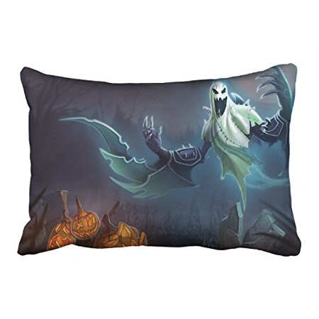 WinHome Halloween Pumpkin Lights And A Terror Demo Ghost Decorative Pillowcases With Hidden Zipper Decor Cushion Covers Two Side 20x30 inches - Halloween Colors Demo