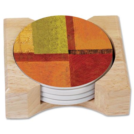 Conimar counterart harmony absorbent stone coasters in wooden holder set of 4 - Stone absorbent coasters ...
