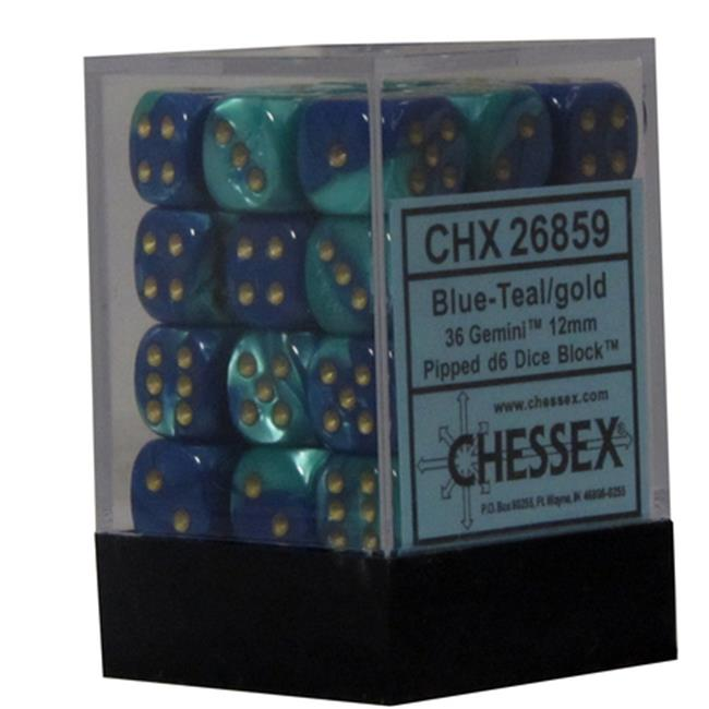 Hasbro CHX26859 Gemini 7 12mm D6 Blue And Teal With Gold Dice by Hasbro