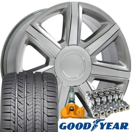 OE Wheels 22 Inch | Fit Cadillac Escalade Chevy Silverado Tahoe GMC Sierra Yukon | CA87 Hyper Silver 22x9 Rims Goodyear Eagle All Season Tires Lugs TPMS Hollander 4739 -