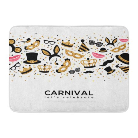 Black And White Borders (GODPOK Carnival Concept with Carnaval Gold and Black on White Flat Place for Your Text Booth Party in Border Rug Doormat Bath Mat 23.6x15.7)