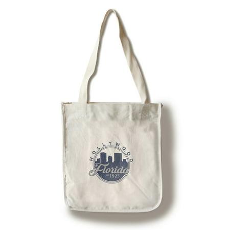 Hollywood, Florida - Skyline Seal (Blue) - Lantern Press Artwork (100% Cotton Tote Bag - Reusable)