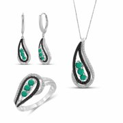 1.00 Carat T.G.W. Emerald And Black & White Diamond Accent Sterling Silver 3-Piece Jewelry Set