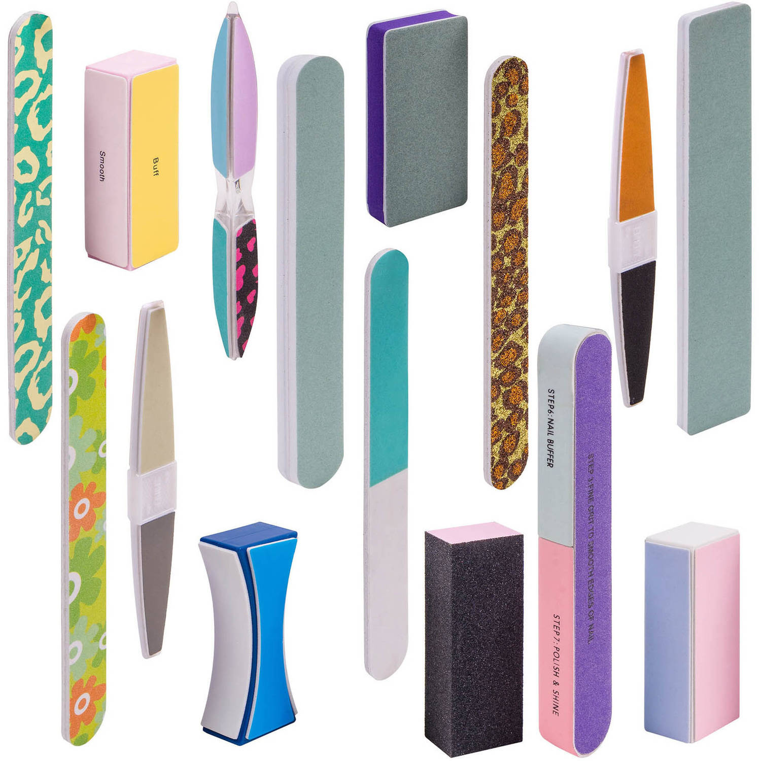 SHANY Trendy Styles Assorted Nail Buffers, Files & Blocks Set, 15 pc