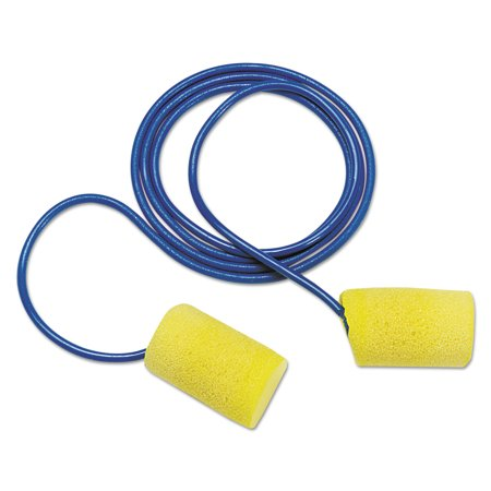 3M E A R Classic Earplugs, Corded, PVC Foam, Yellow, 200 Pairs