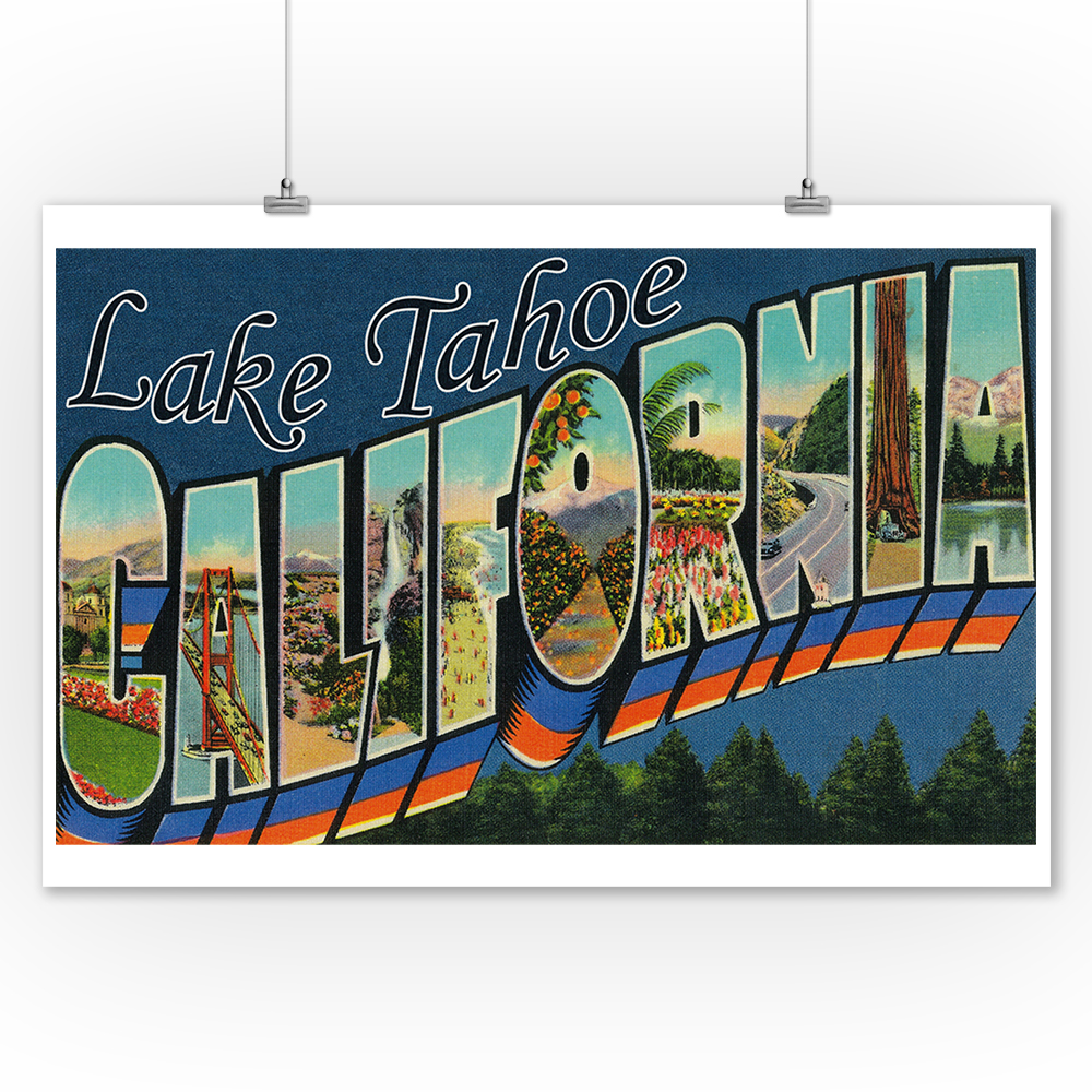 Greetings from Lake Tahoe, California (9x12 Art Print, Wall Decor Travel Poster)