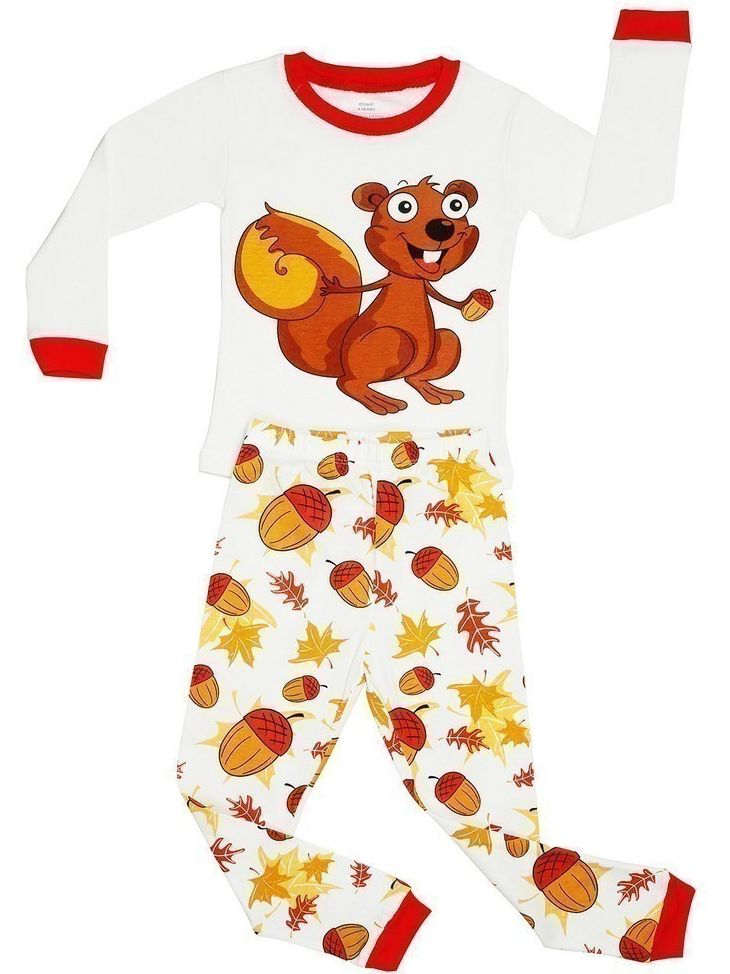 Elowel Baby Girls Brown Chipmunk Nut Print Cotton 2 Pc Pajama Set