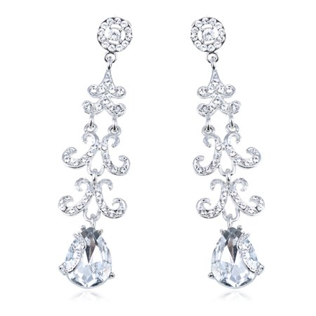 Genuine Crystal Elements Bridal Collection Trendy Fashion Earrings