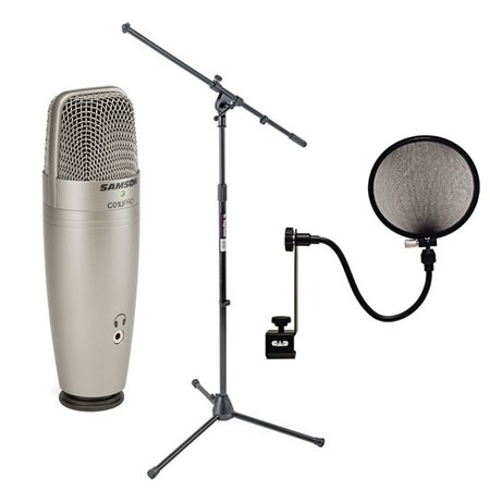 Samson C01U Pro USB Studio Condenser Microphone + On Stage MS7701B Euro Boom Microphone Stand+ 15A Pop Filter on 15-Inch Gooseneck (Samson Mic Boom)