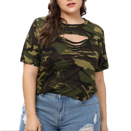 Camouflage Fashion - Tuscom Fashion Women Casual O-Neck Plus Size Camouflage Hollow Out Tops T-Shirts
